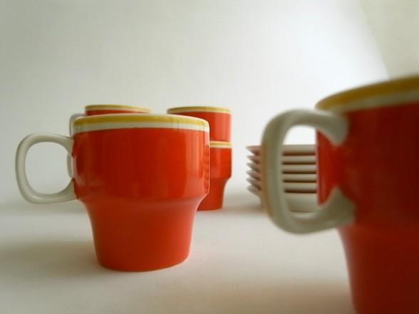 HOLLOHAZA デミタスカップ&ソーサー オレンジ